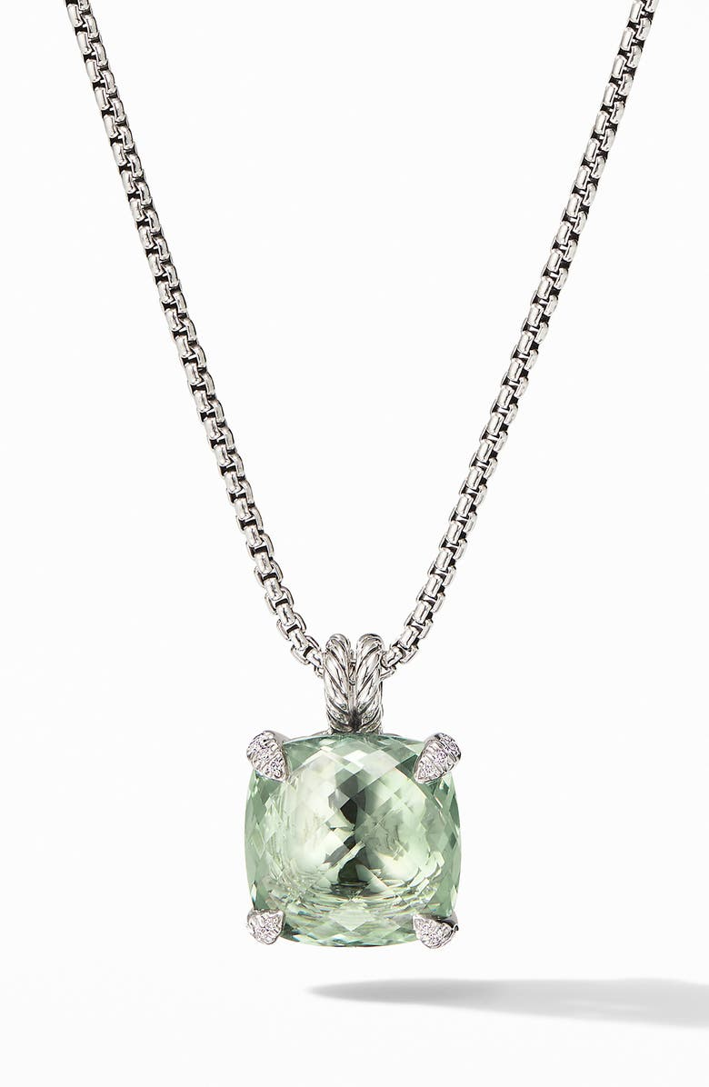 DAVID YURMAN Châtelaine<sup>®</sup> Prasiolite Pendant Necklace with Diamonds, Main, color, NEW PRASIOLITE