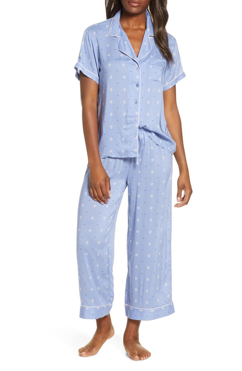 NORDSTROM Lingerie Sweet Dreams Crop Pajamas, Main, color, BLUE COLONY FOULARD