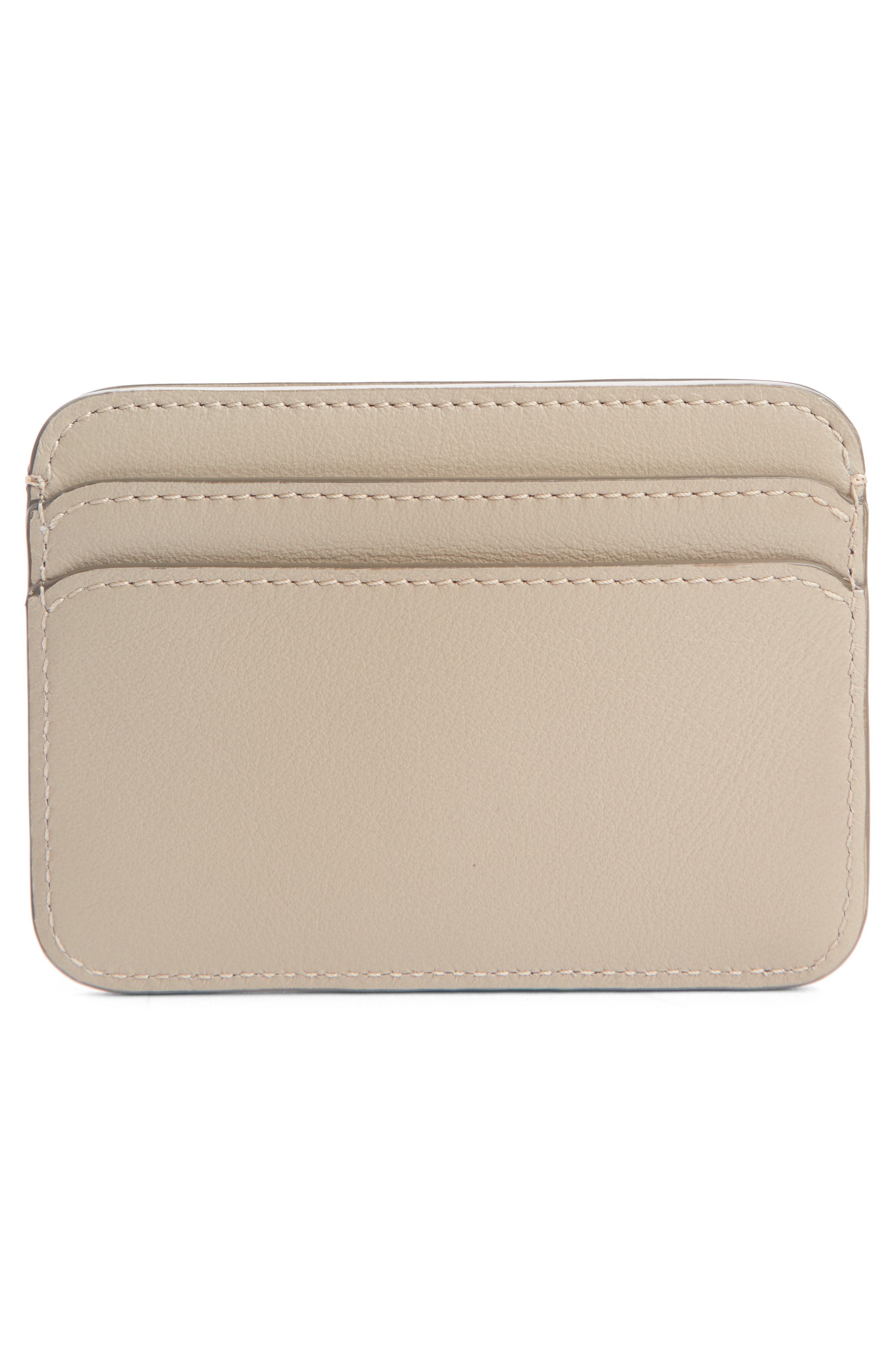 ,                             Vick Logo Leather Card Holder,                             Alternate thumbnail 2, color,                             PASTEL GREY