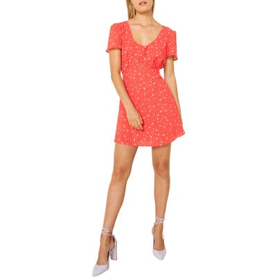 The East Order Aggy Print Minidress, Coral