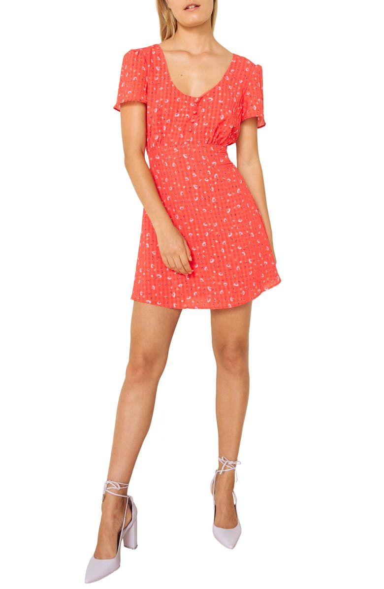 THE EAST ORDER Aggy Print Minidress, Main, color, CHILI STRAWBERRY