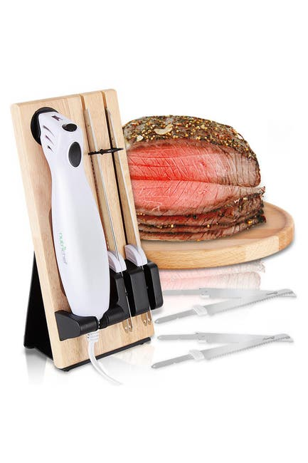 Image of NutriChef Electric Kitchen Knife with Wooden Storage Tray