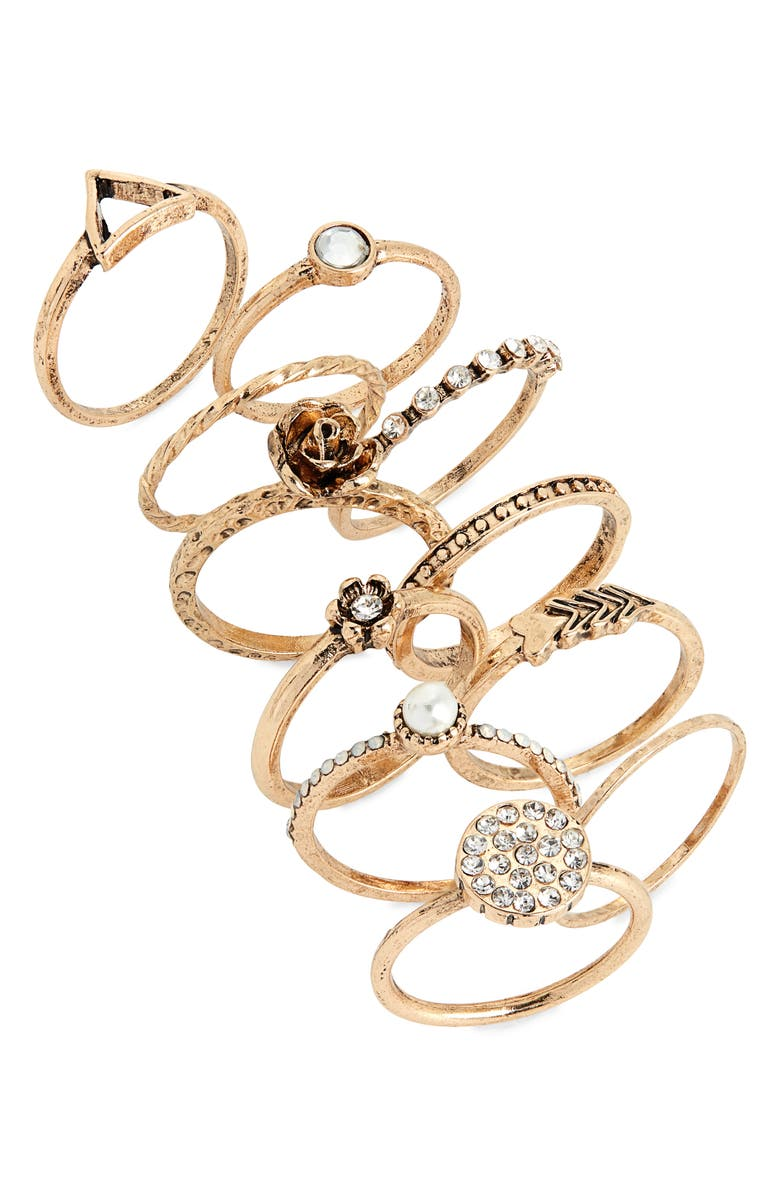 BP. Set of 11 Stacking Rings, Main, color, CLEAR- WHITE- GOLD