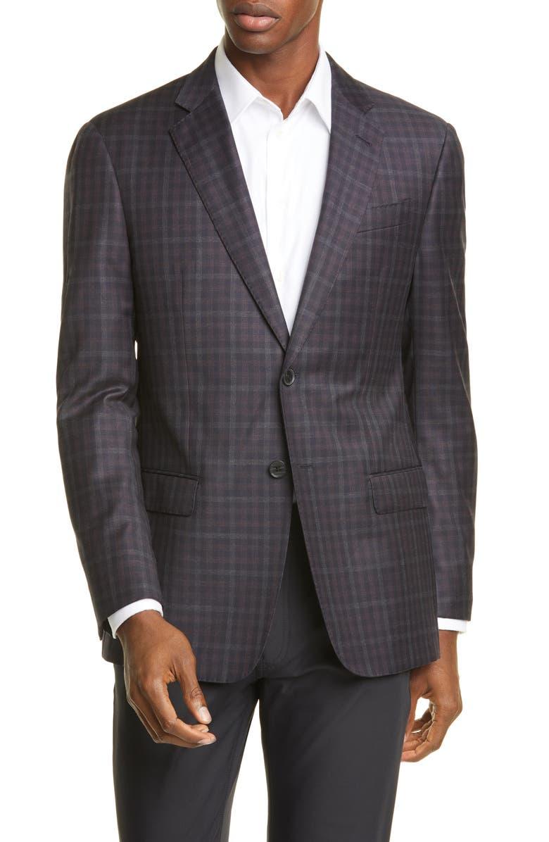 EMPORIO ARMANI Trim Fit Wool Sport Coat, Main, color, BROWN