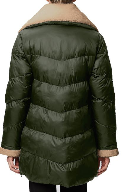 Image of Rainforest Recycled Nylon Cire Quilted Faux Shearling Trim Thermoluxe Puffer Jacket