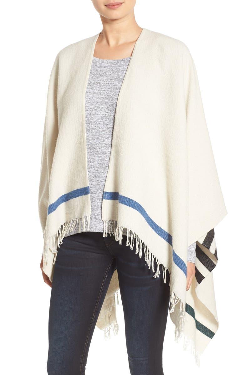 RAG & BONE 'Ines' Stripe Wool Blend Poncho, Main, color, 900