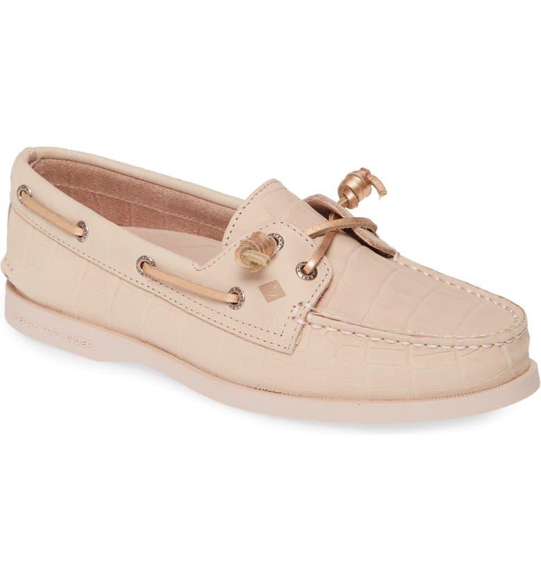 SPERRY Authentic Original Vida Boat Shoe, Main, color, PINK CROCODILE PRINT NUBUCK