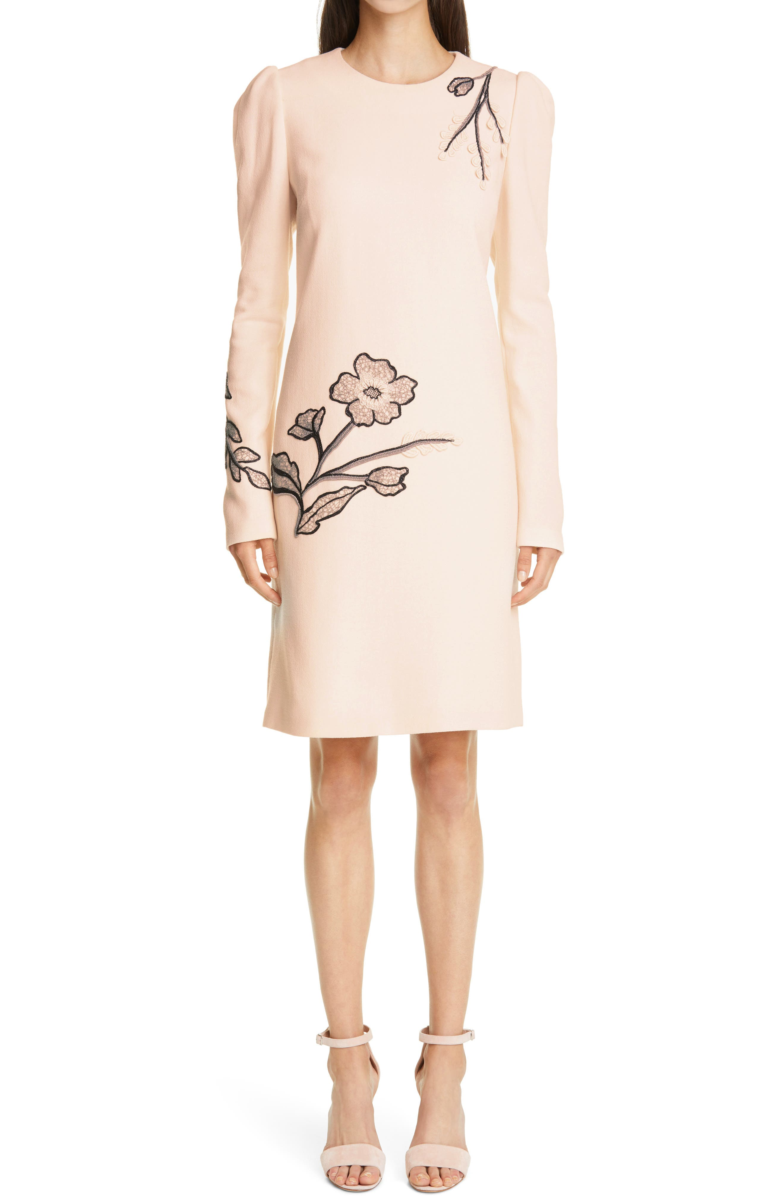 Long Sleeve Floral Embroidered Wool Crepe Tunic Dress
