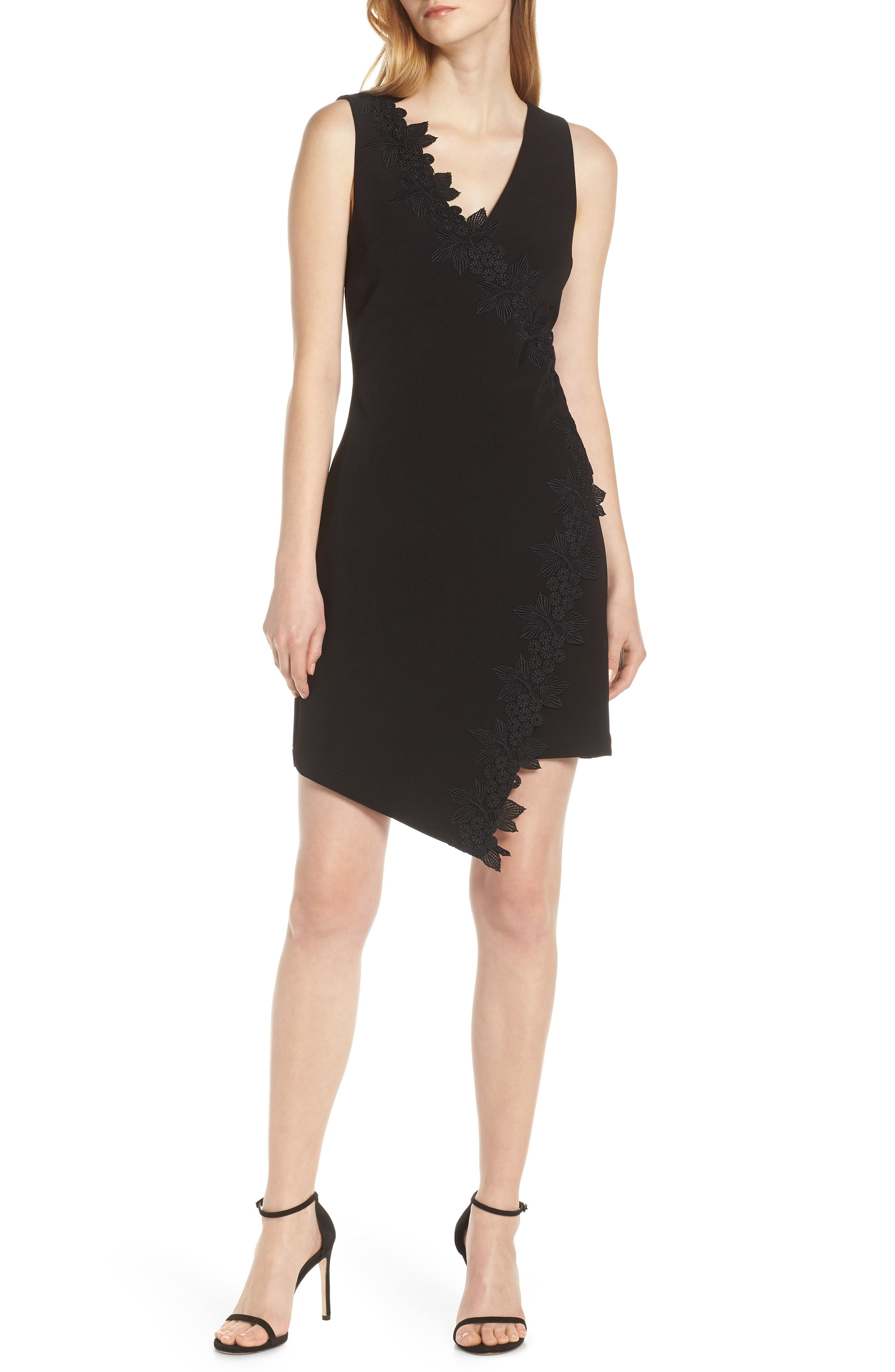 Harlyn Sleeveless Embroidered Dress, Black