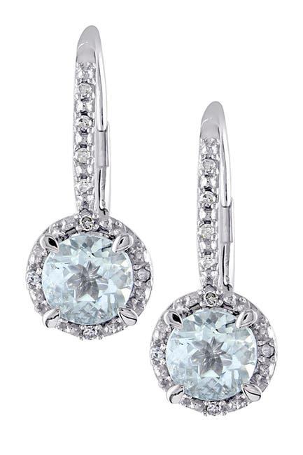 Image of Delmar Sterling Silver Round Aquamarine & Diamond Halo Drop Earrings