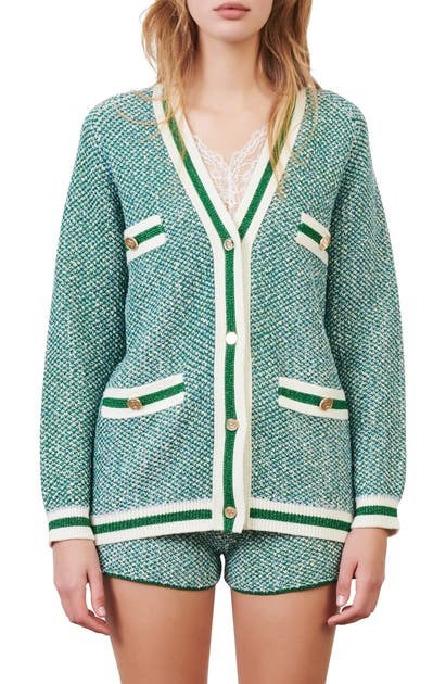 Maje METALLIC FIBER COTTON BLEND CARDIGAN
