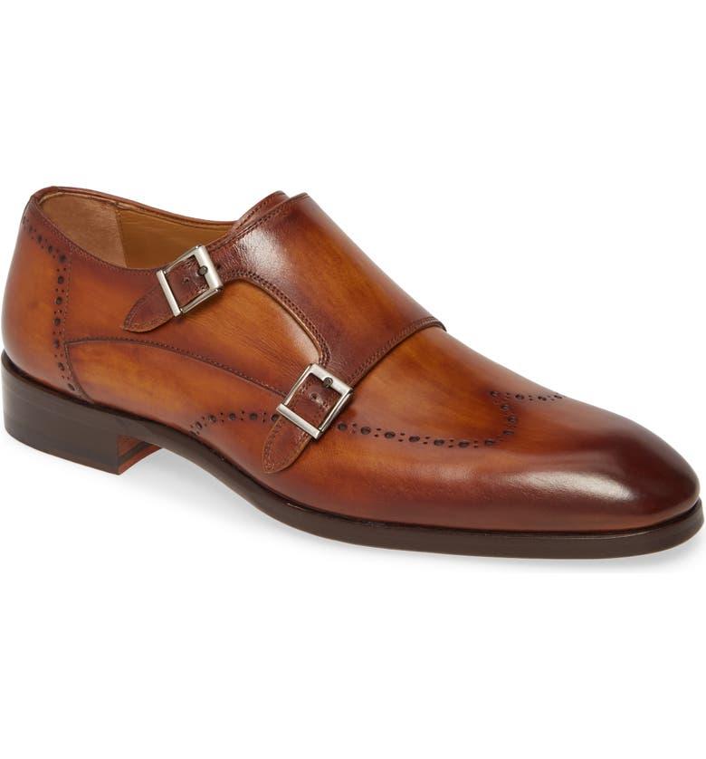 MAGNANNI Ryan Double Monk Strap Shoe, Main, color, COGNAC
