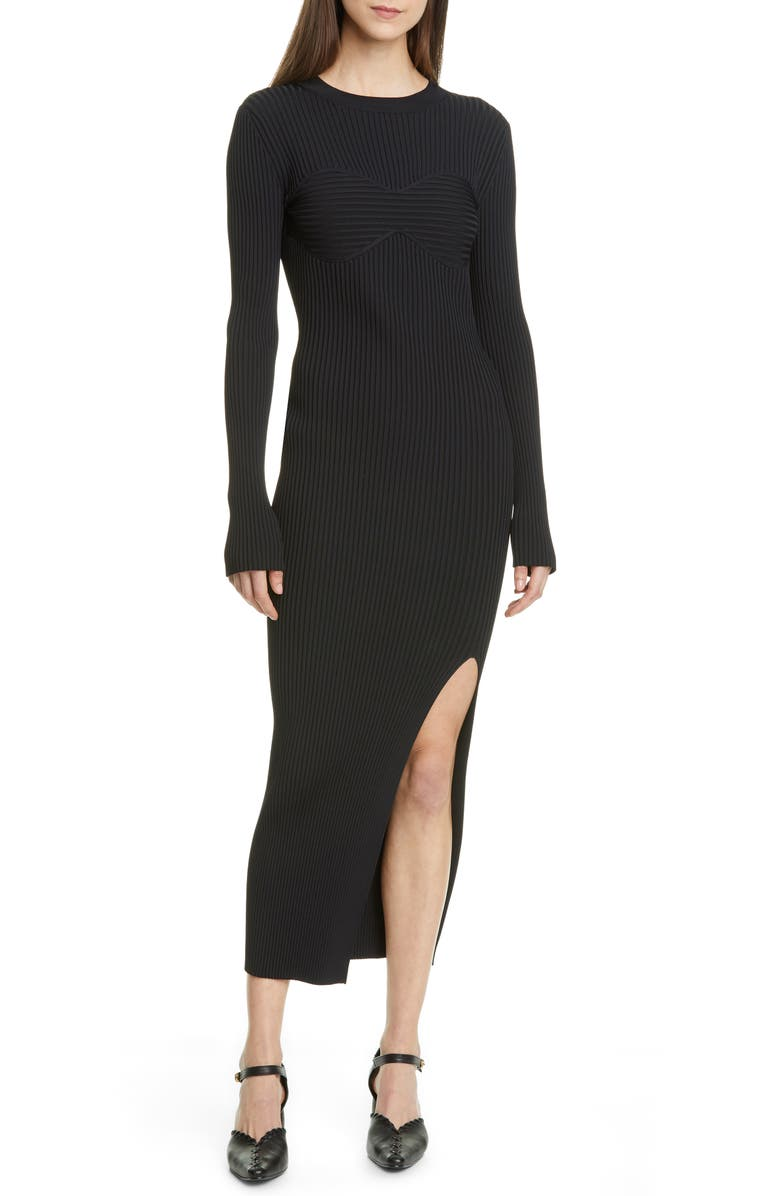 KHAITE Evlynne Long Sleeve Ribbed Sweater Dress, Main, color, BLACK