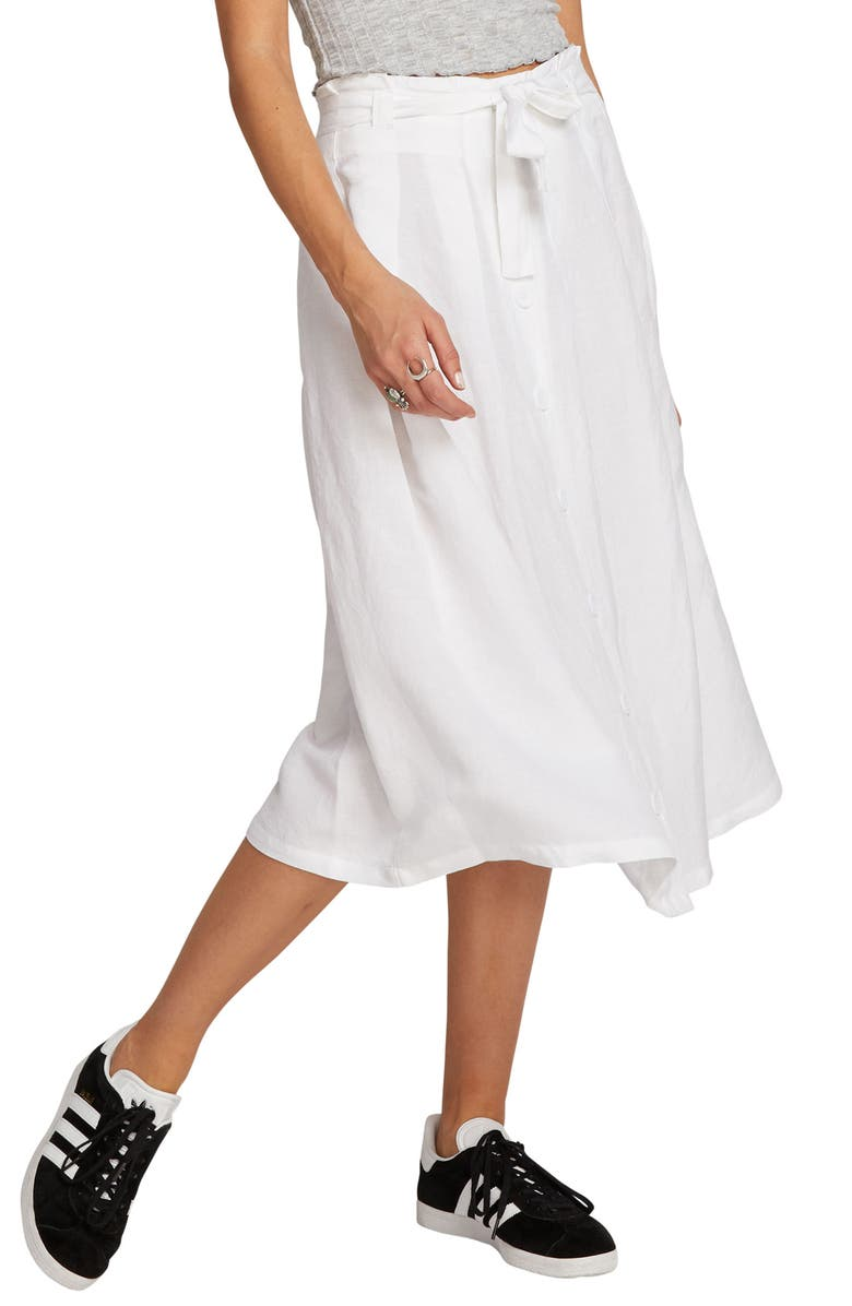 VOLCOM Deep Tracks Linen Blend Midi Skirt, Main, color, 100