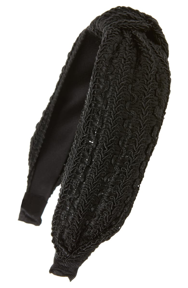 TASHA Lace Knot Headband, Main, color, BLACK