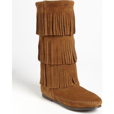 Minnetonka 3-Layer Fringe Boot, Brown