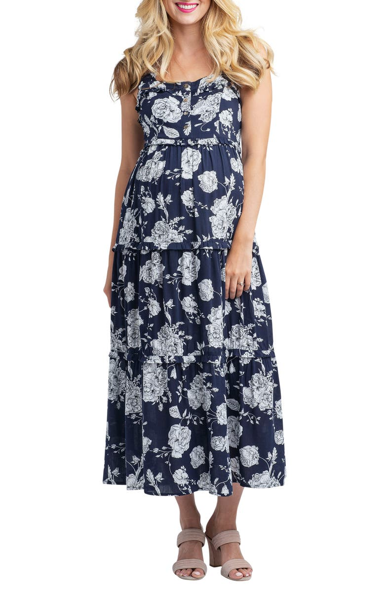 NOM MATERNITY Emma Maternity/Nursing Midi Dress, Main, color, FLORAL BOUQUET