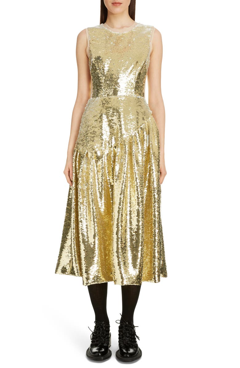 SIMONE ROCHA Sequin Midi Dress, Main, color, GOLD