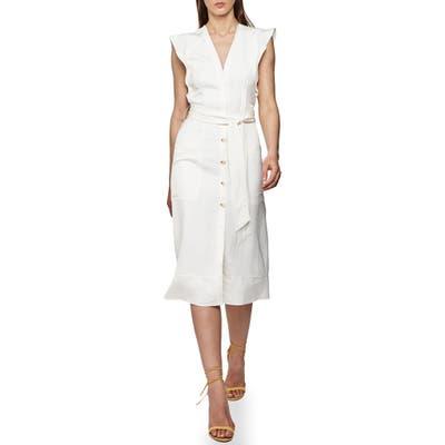 Reiss Enid Flutter Sleeve Sheath Dress, US / 12 UK - Ivory
