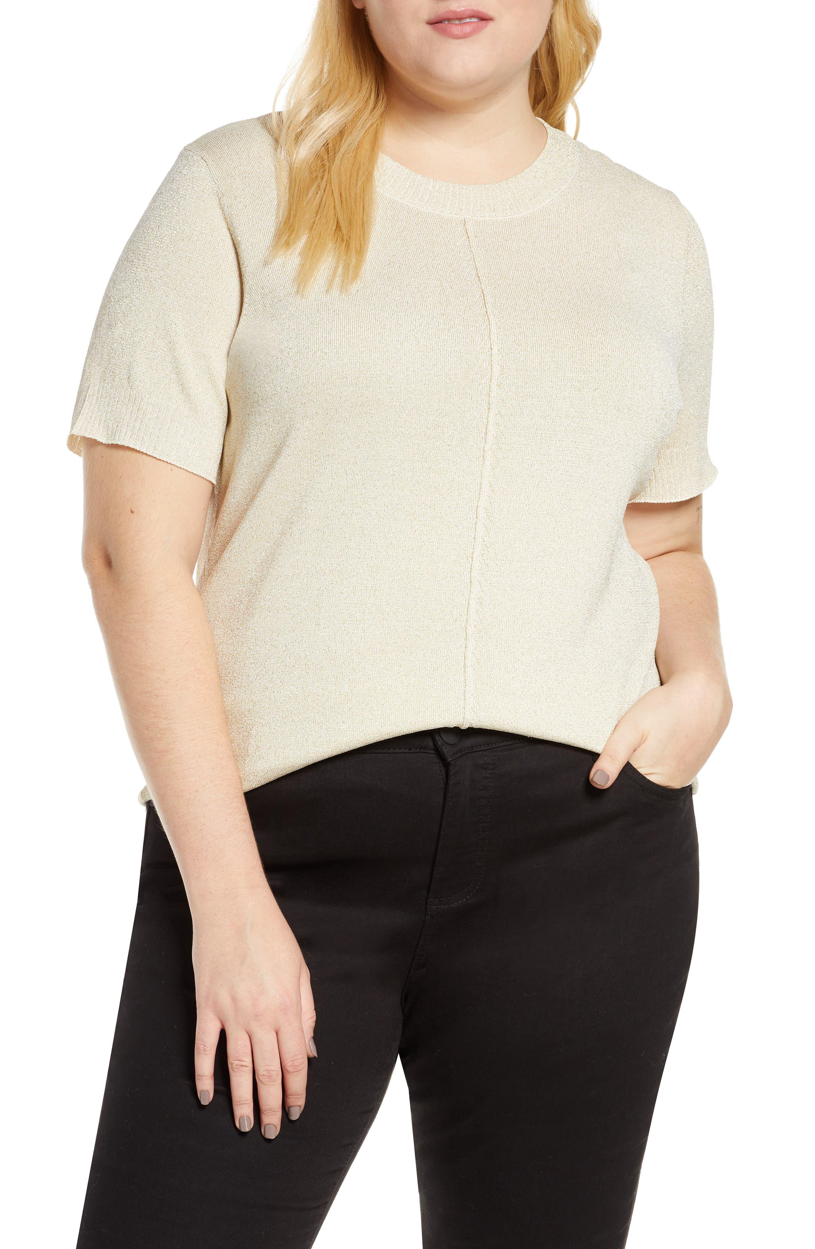 Image of Rachel Roy Metallic Knit Short Sleeve Top