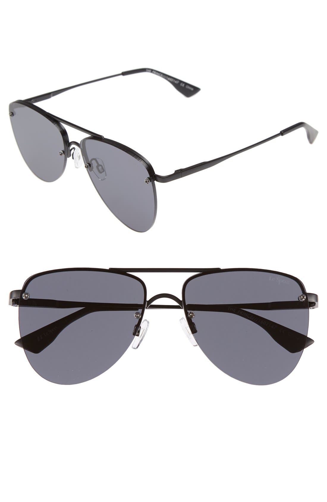 The Prince 57mm Aviator Sunglasses, Main, color, BLACK