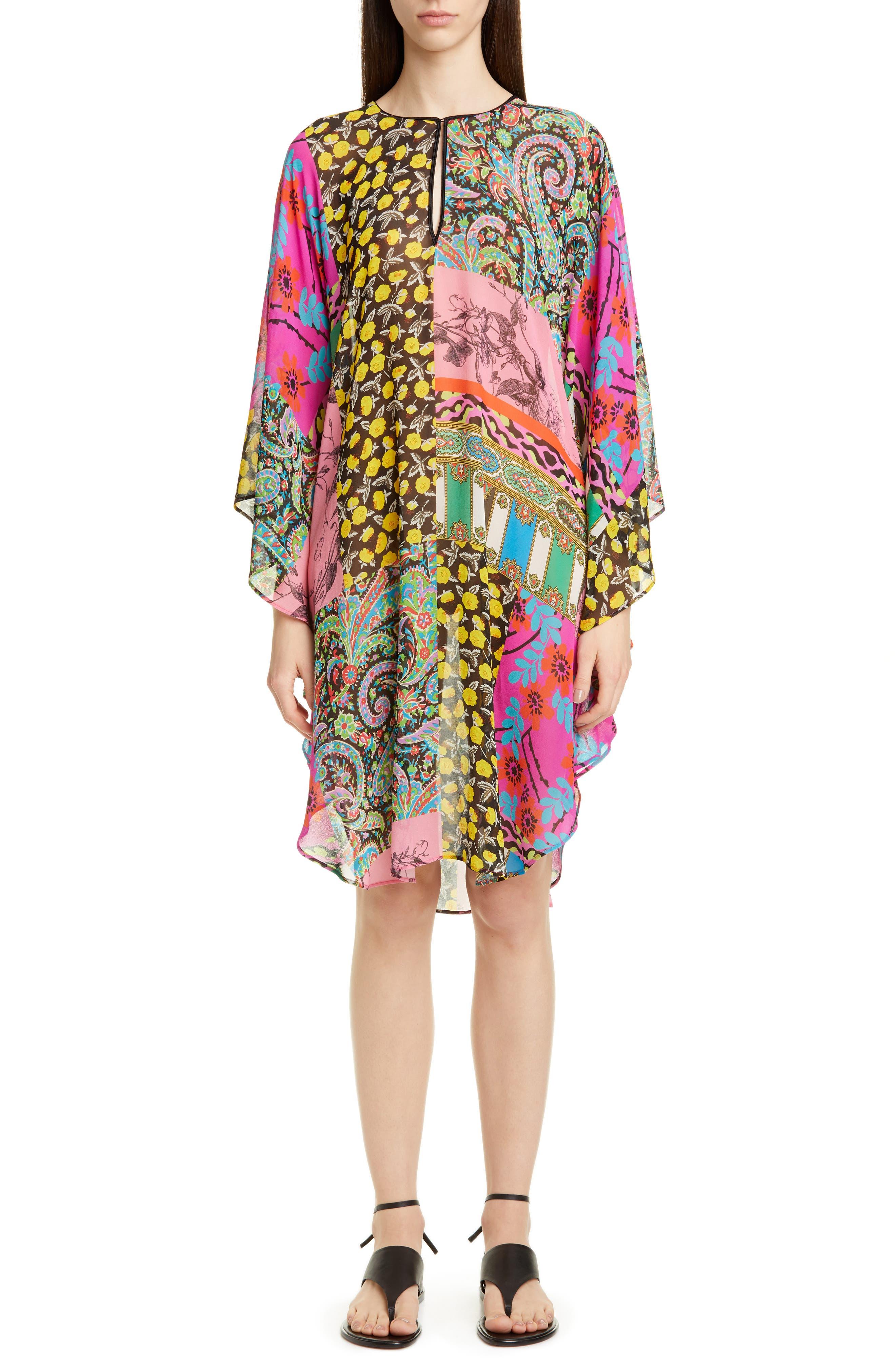 Etro Mixed Print Silk Chiffon Caftan Dress, Blue