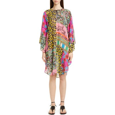 Etro Mixed Print Silk Chiffon Caftan Dress, Blue