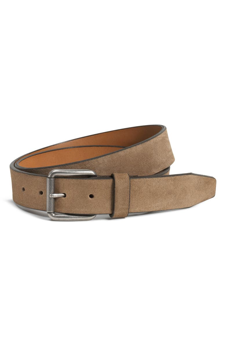 TRASK Cash Suede Belt, Main, color, TAUPE