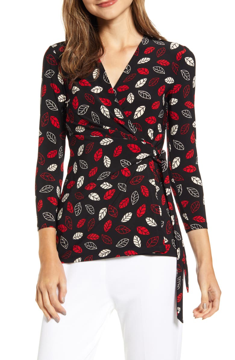 ANNE KLEIN Sonoma Coast Wrap Top, Main, color, ANNE BLACK/ PINOT COMBO