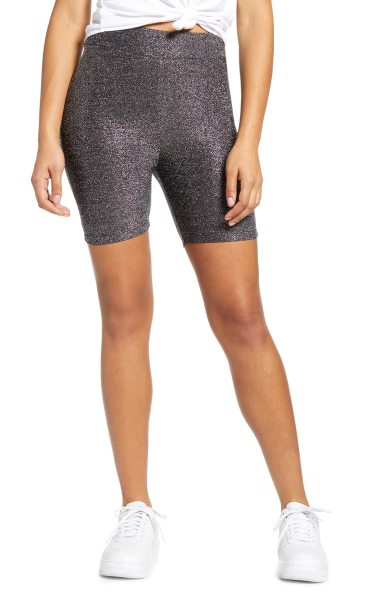 TEN SIXTY SHERMAN Metallic Biker Shorts, Main, color, BLACK METALLIC