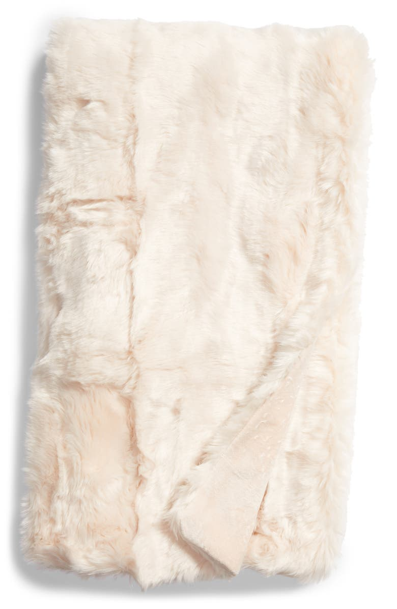 RACHEL PARCELL Frost Faux Fur Throw Blanket, Main, color, PINK PEONY BUD