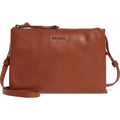 Ted Baker London Daniibar Double Zip Leather Crossbody Bag - Brown