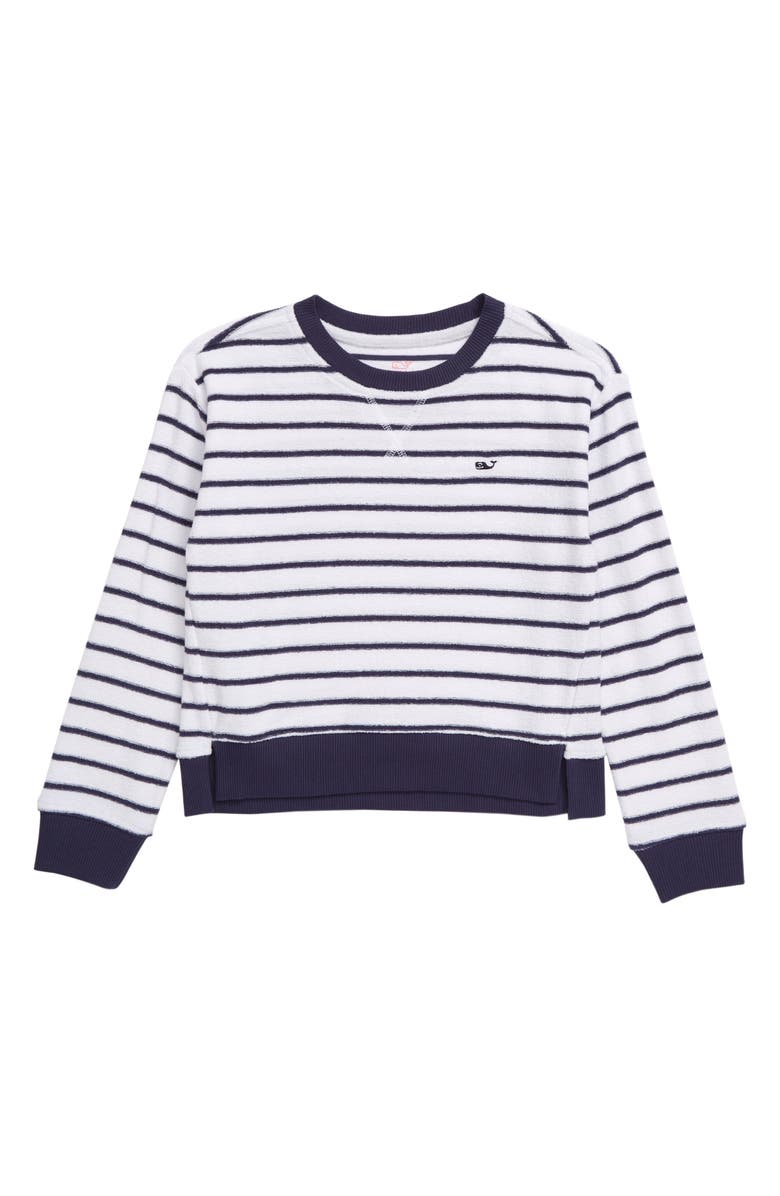 VINEYARD VINES Break Stripe Terry Pullover, Main, color, WHITE CAP