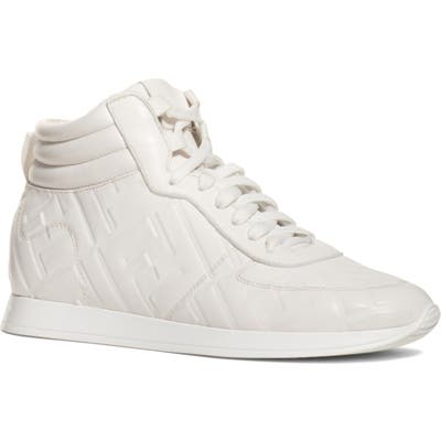 Fendi Ff Feather High Top Sneaker, White