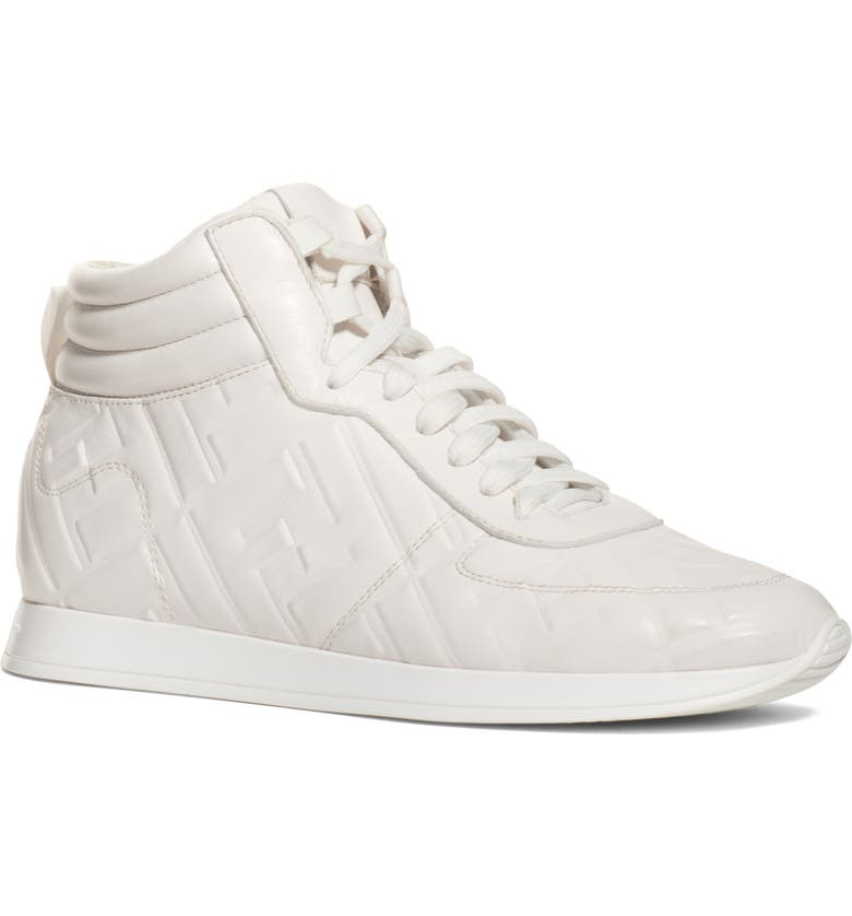 FENDI FF Feather High Top Sneaker, Main, color, BIANCO ICE