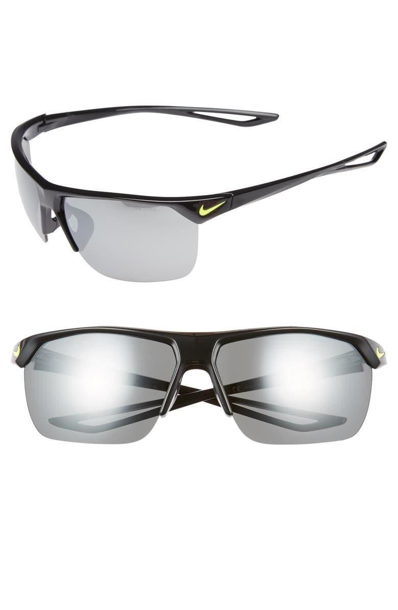 NIKE Trainer 72mm Oversize Sunglasses, Main, color, BLACK/ VOLT/ GREY SILVER FLASH