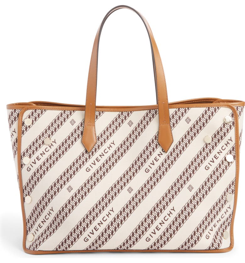 GIVENCHY Medium Bond Chain Canvas Tote, Main, color, BEIGE