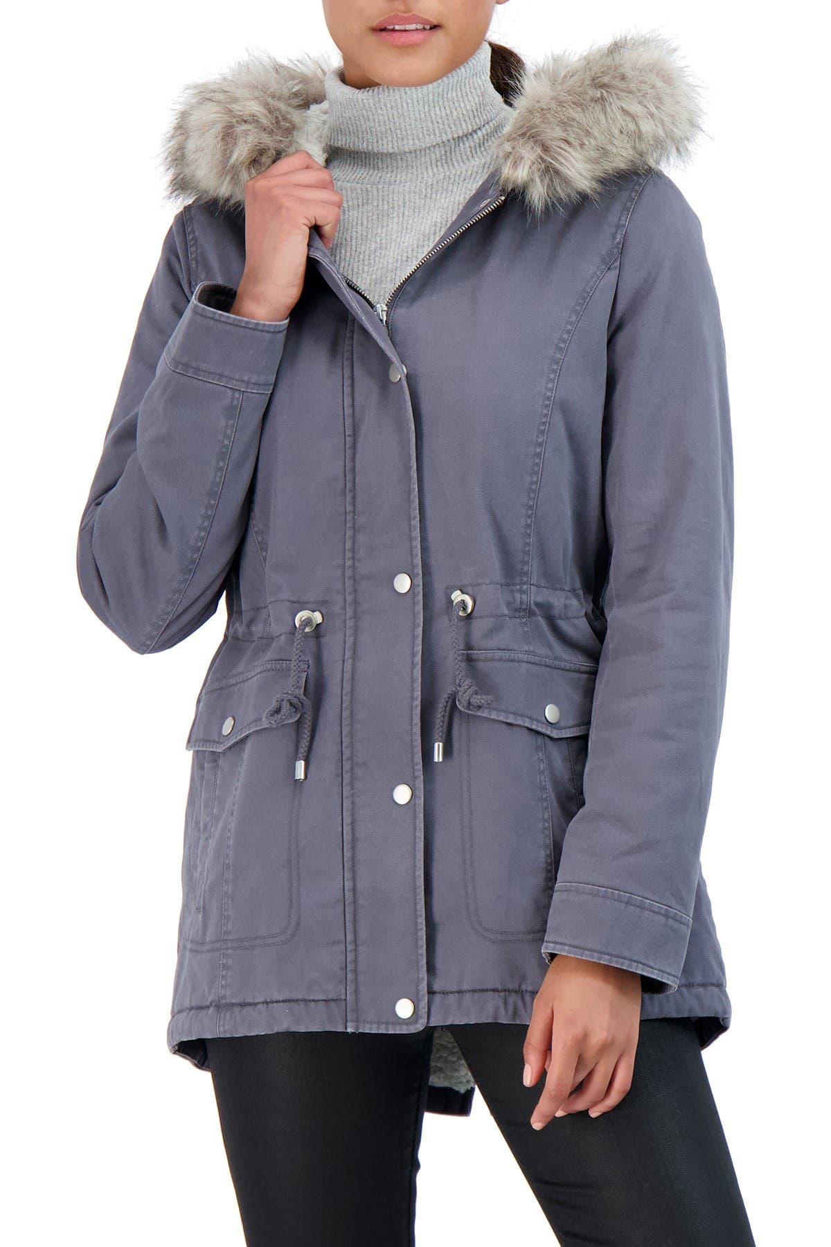 Image of Sebby Cotton Faux Fur Lined Parka