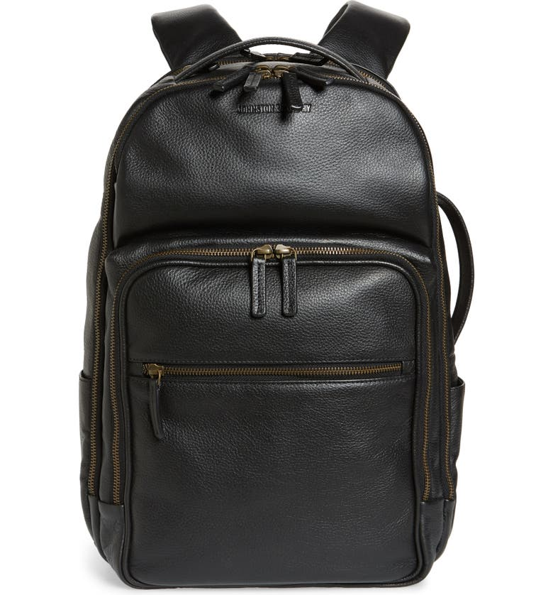 JOHNSTON & MURPHY Leather Backpack, Main, color, BLACK PEBBLED LEATHER