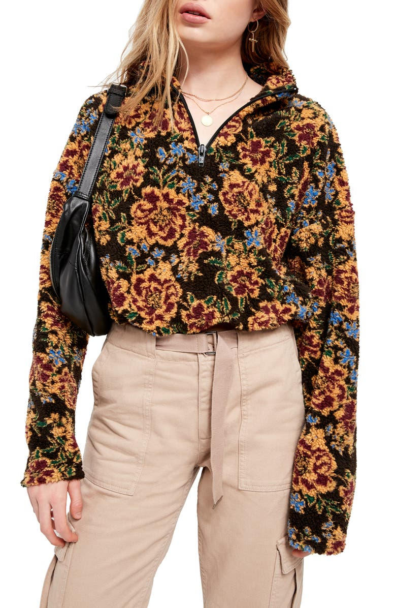 BDG URBAN OUTFITTERS Burg Floral Fleece Quarter Zip Crop Pullover, Main, color, WINE