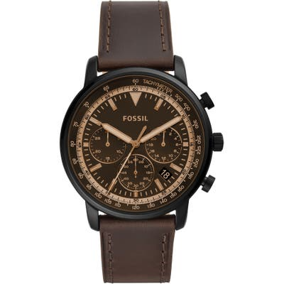 Fossil Goodwin Chronometer Leather Strap Watch, 4m