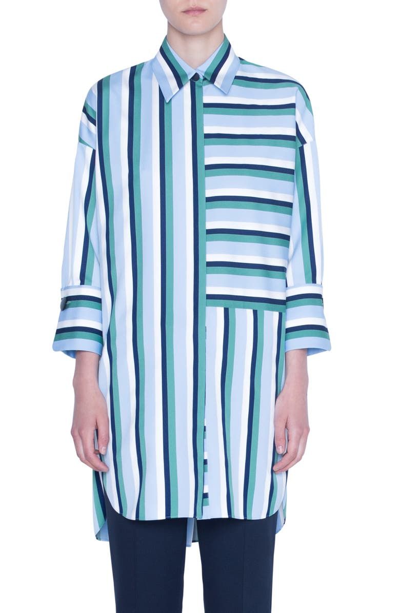 AKRIS PUNTO Patchwork Stripe Tunic Blouse, Main, color, CREAM/ SKY BLUE/ SPRUCE
