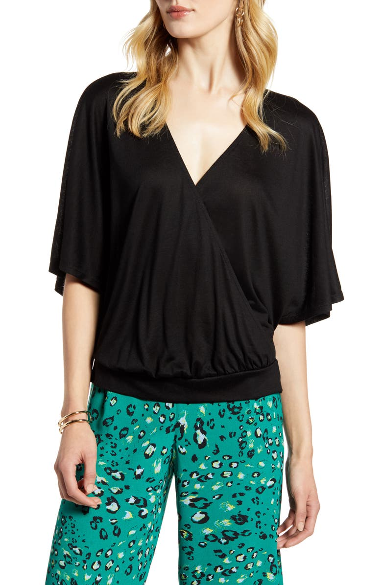 HALOGEN<SUP>®</SUP> Faux Wrap Top, Main, color, 001