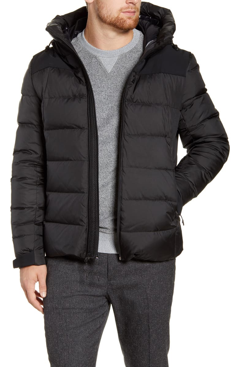 COLE HAAN Down Hooded Puffer Jacket, Main, color, 001