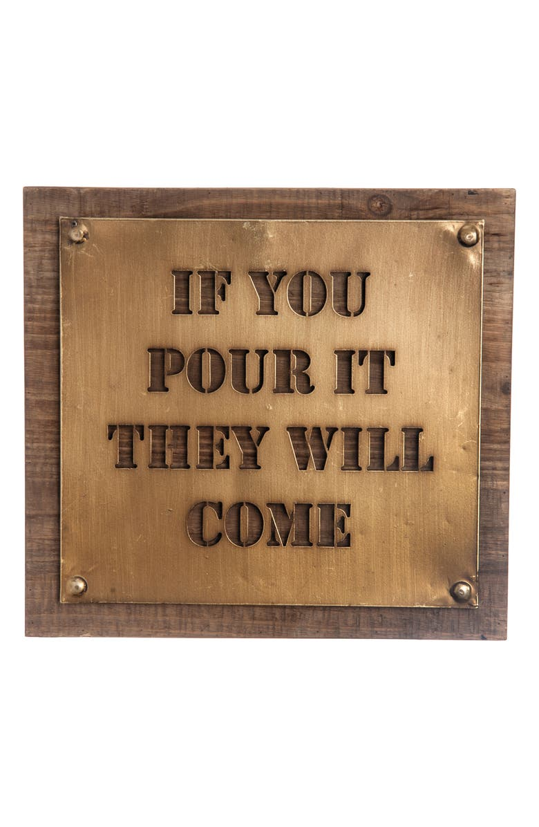 FORESIDE If You Pour It They Will Come Wall Art, Main, color, GOLD/BROWN