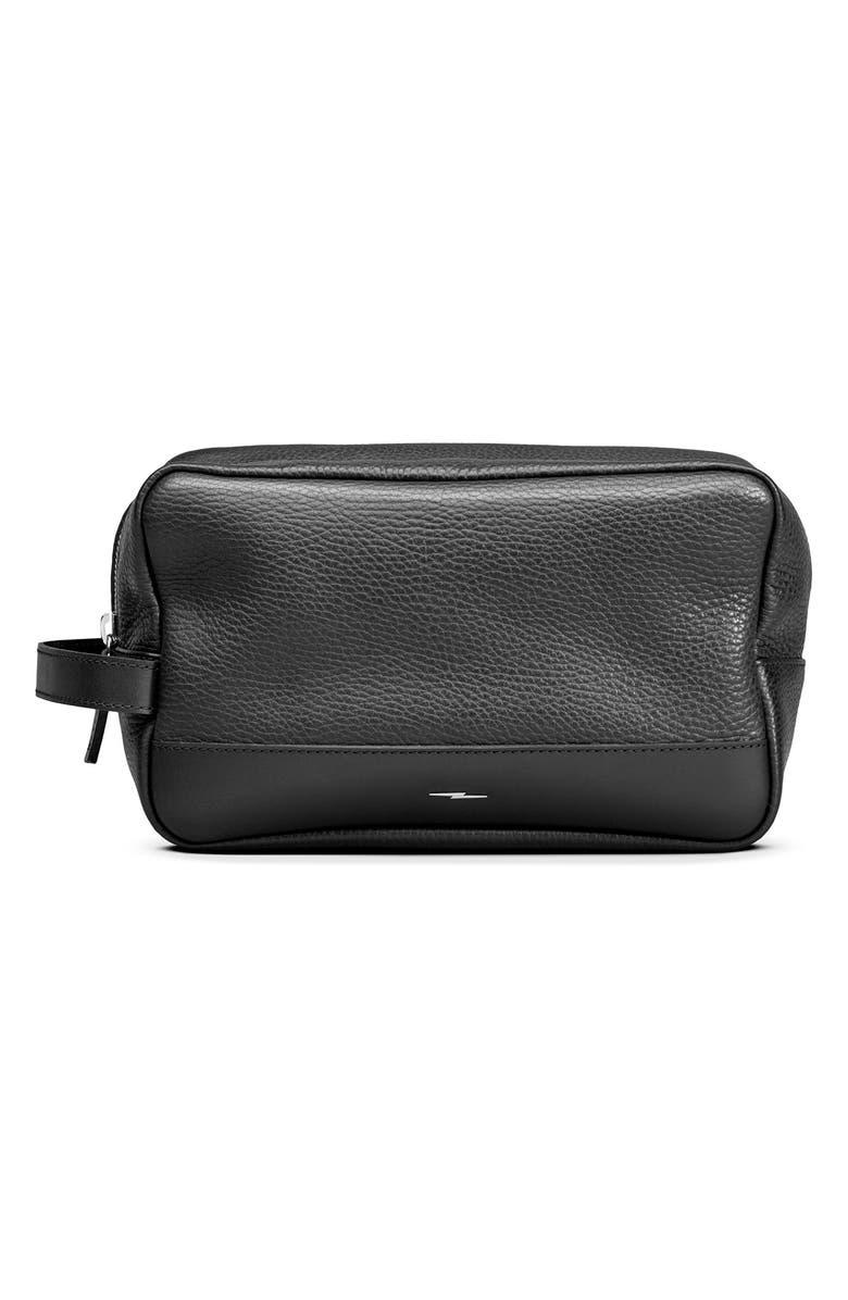 SHINOLA Leather Travel Kit, Main, color, BLACK