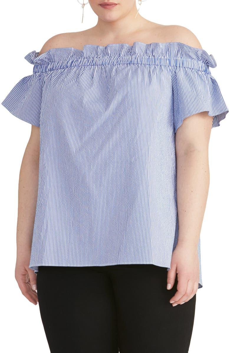 RACHEL RACHEL ROY Erla Off the Shoulder Seersucker Top, Main, color, BLUE/ WHITE COMBO