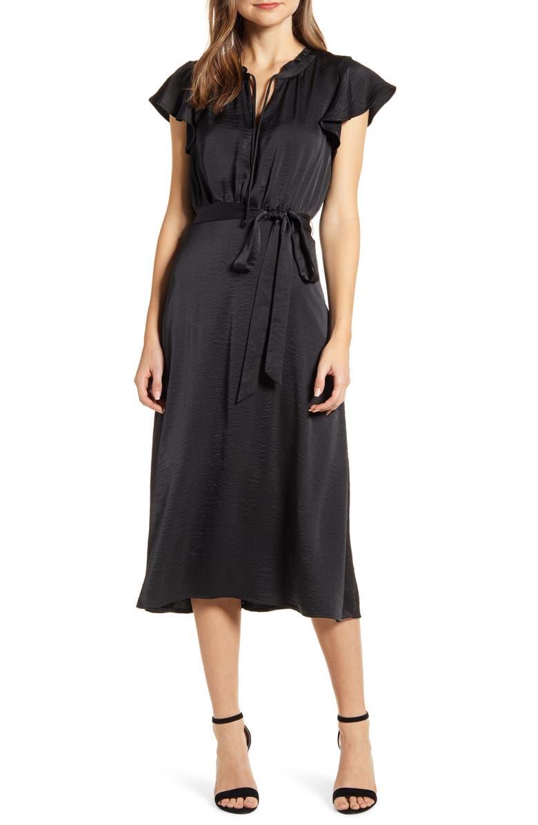 BOBEAU Savoy Flutter Sleeve Midi Dress, Main, color, 001