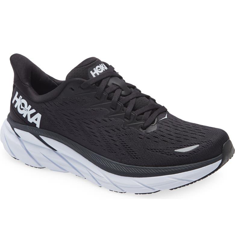 HOKA ONE ONE Clifton 8 Running Shoe, Main, color, BLACK/ WHITE