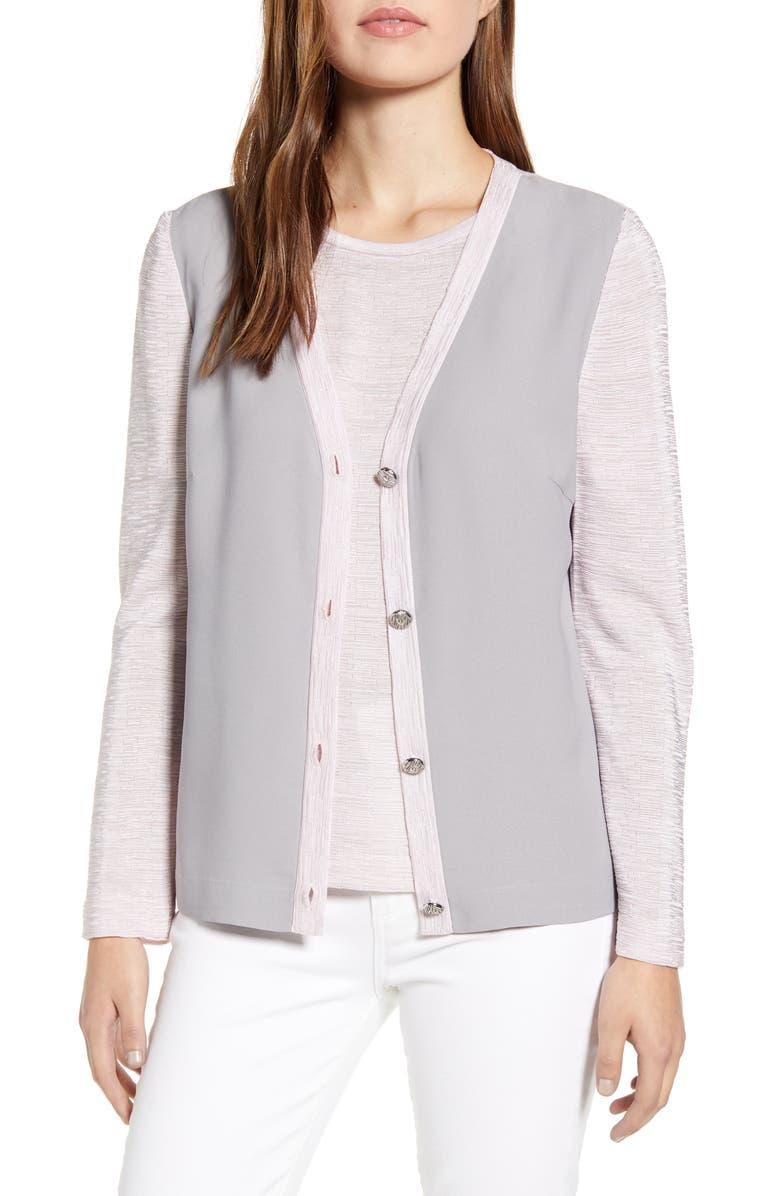 MING WANG Mix Media Jacket, Main, color, STERLG/ SUGAR/ WT